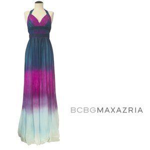 BCBGMAXAZRIA silk chiffon ombré pleated gown Sz 0